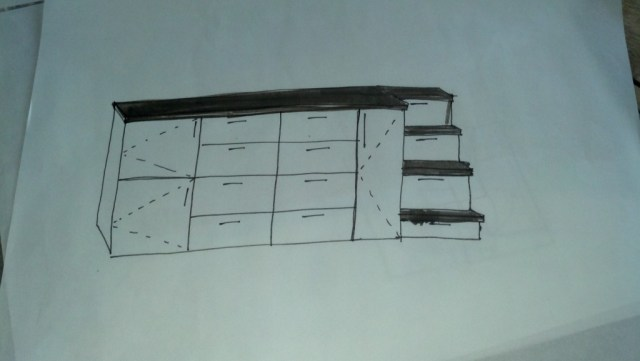 This has changed a little but the general idea is still there.  I will have the cabinets be all white with wood accents.