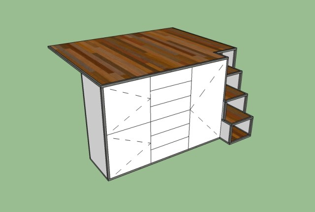 Here is the concept for the bed platform/dresser.  I like how simple it could work out.  I really like how the steps are working out.  Another thing I like about doing a steel frame is the durability.  I imagine there will be an adjustment period where I bump into things, I would hate to ding up my furniture.   As you already know I am not a very graceful person naturally anyway... hence falling off the roof :)