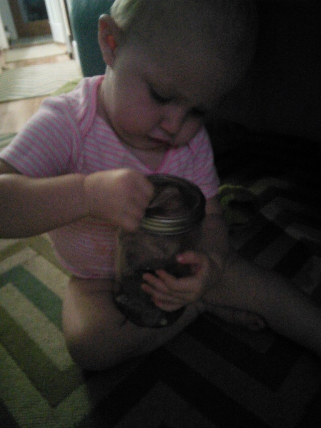 And that night was Hazels first money lesson, she got a piggy bank (a mason jar, one that USED to be our kitchen light fixture actually!)