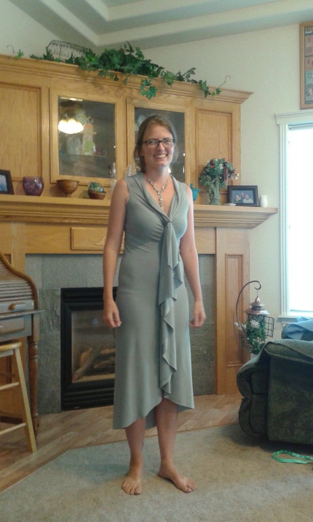 "I'm a bridesmaid so I had to make me a dress too, this is BY FAR the easiest dress I've ever made.  It took 5 minutes and 1 20""seam.  I found an earring to finish it and it was silly how simple it was, I had to ask my mom to make sure it didn't look like crap, I didn't trust it!"