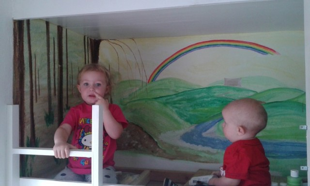 Working on the mural! Working on the stuff, picking our noses, you know...