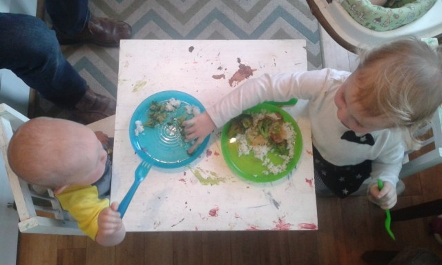 Sometimes they want to eat dinner at their messy crafty tea table