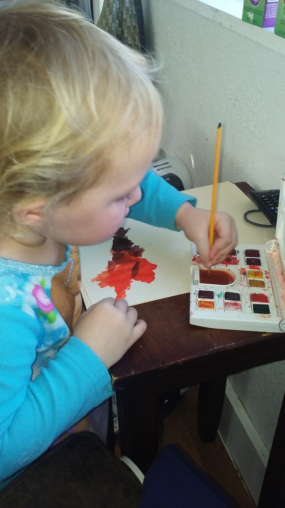 Hazel's new favorite passtime, I got her 'nice paints'  she loves them!