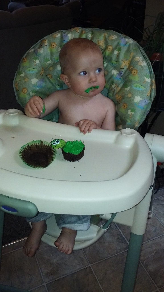 Miles's belated birthday cupcake from Tommy and Nana