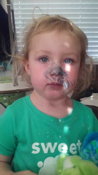 Hazel has been really liking to go in her bunk bed and paint... she came out like this....