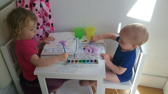 they are getting pretty good at sharing and painting!