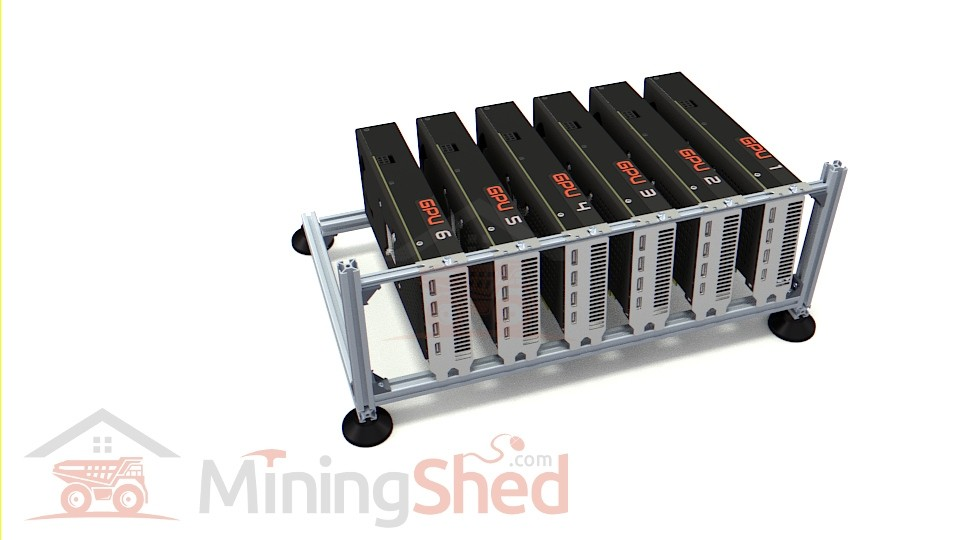 6-GPU Open Air Aluminum Mining Extension Frame (Ethereum / ZCash)