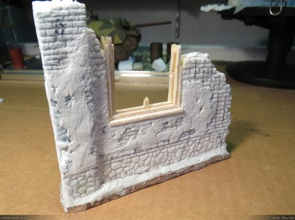 Ruined house (front), made of blue foam, foamcore board, balsa and sparkle.