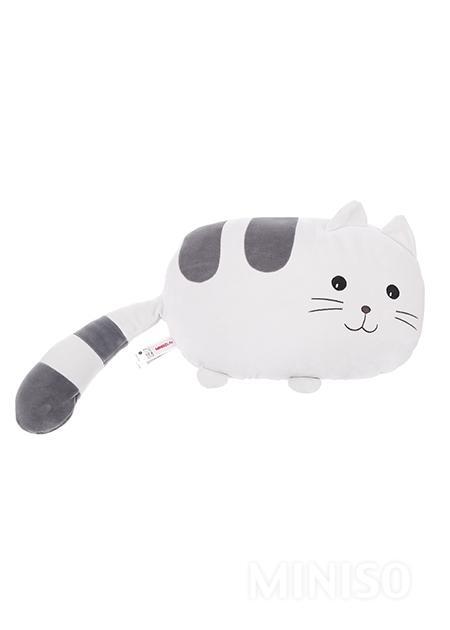 cat plush pillow light grey miniso australia