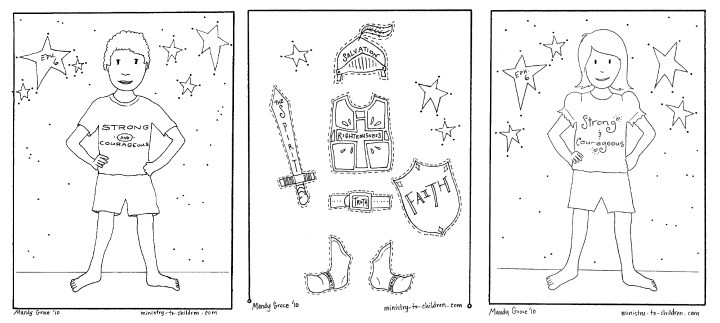 Armor of God Coloring Pages- Boy version, girl version, cutout pieces of the armor pieces