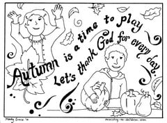 """Autumn Coloring Page """"Let's Thank God"""" — Ministry-To"""