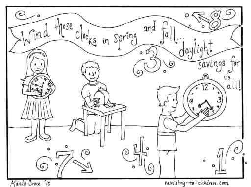 Daylight Savings Time Change (Clocks) Coloring Page