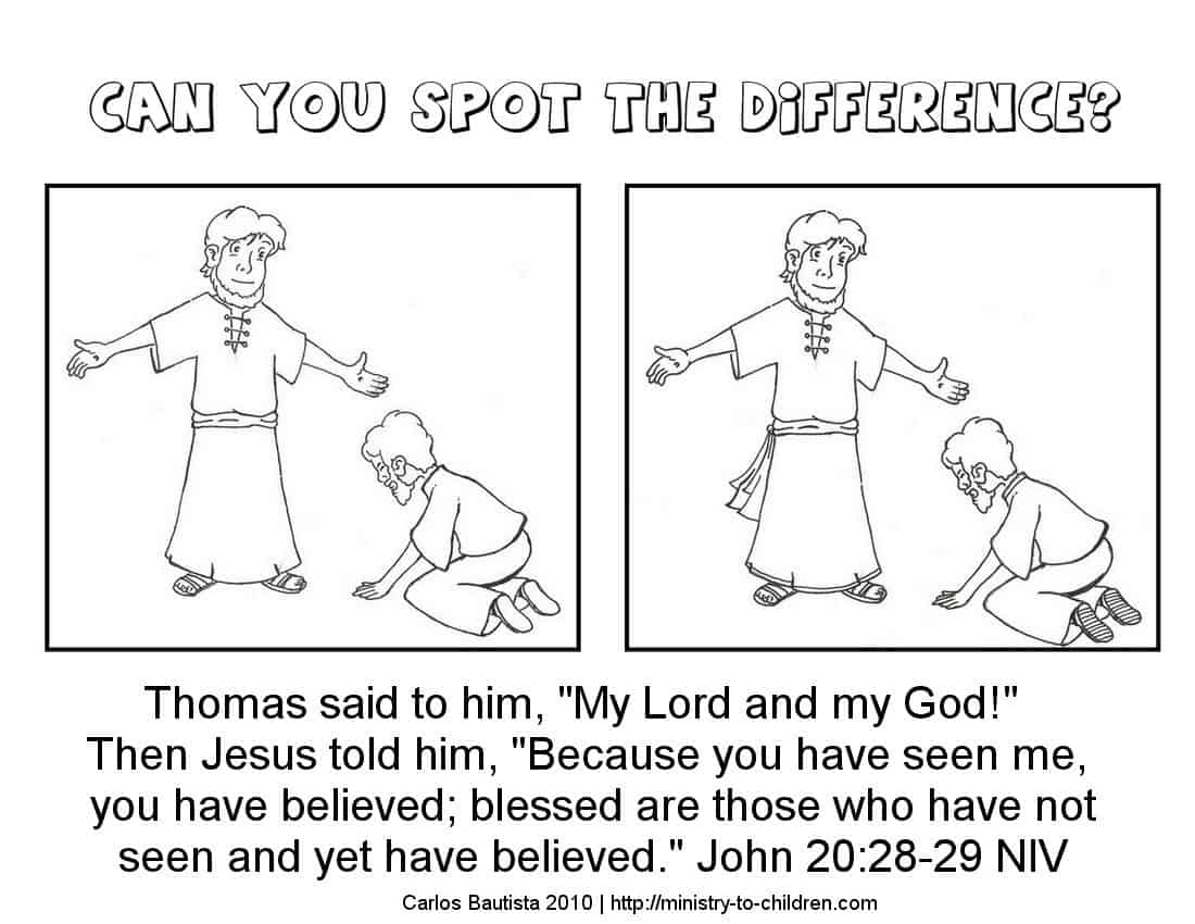 Doubting Thomas Sunday School Worksheet