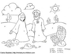 Jesus Temptation Color by Number Activity