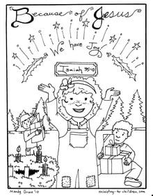 """printable Advent coloring page for kids """"We Have Joy"""""""