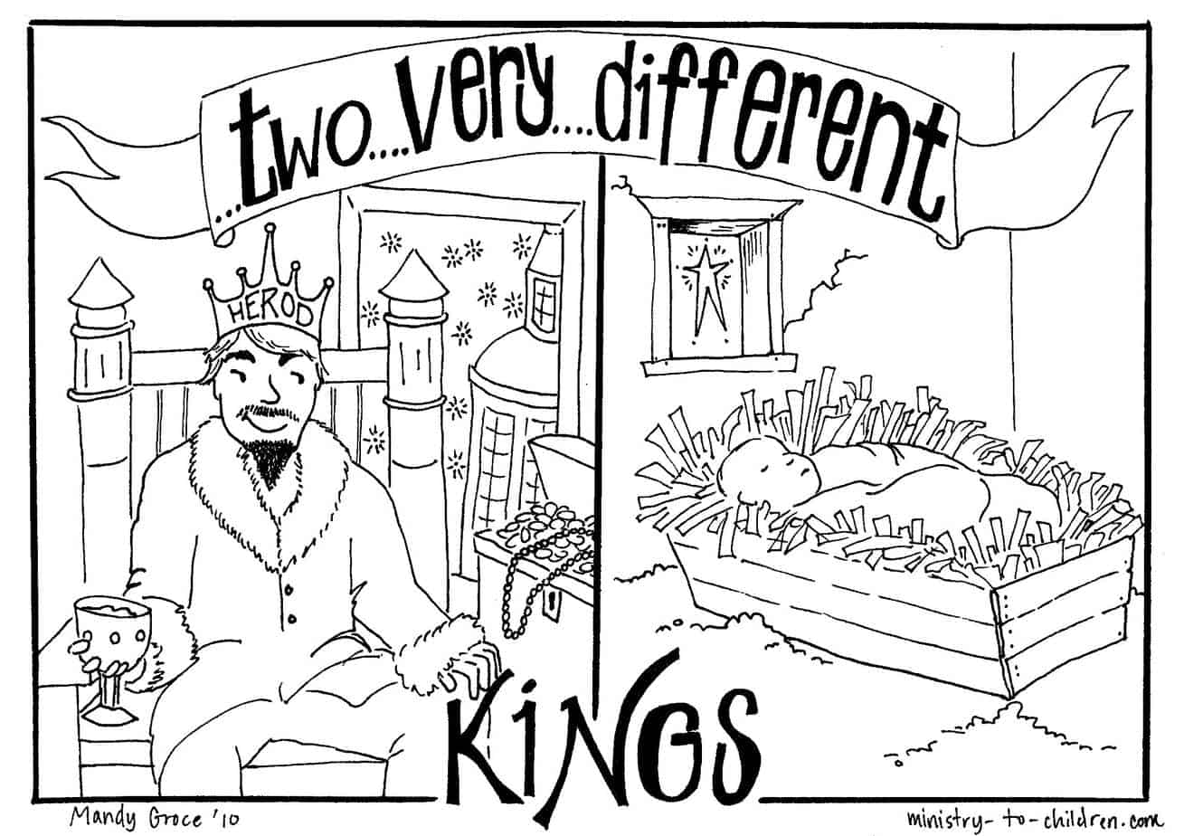 Coloring Page Two Very Different Kings Herod Vs Jesus