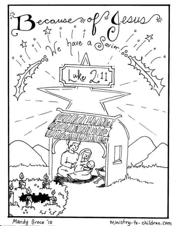 Nativity Scene - Away in a Manger Coloring Page