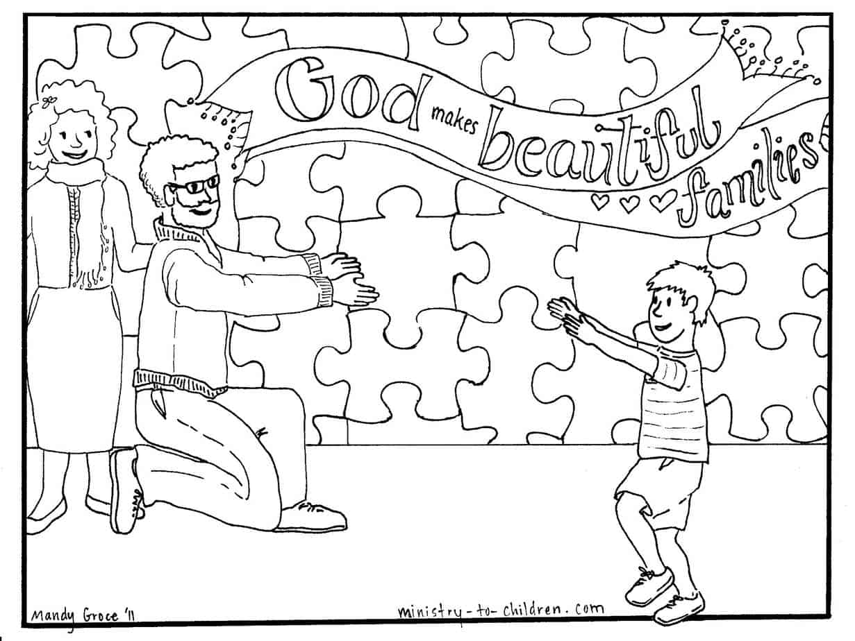 God Makes Beautiful Families Adoption Coloring Page