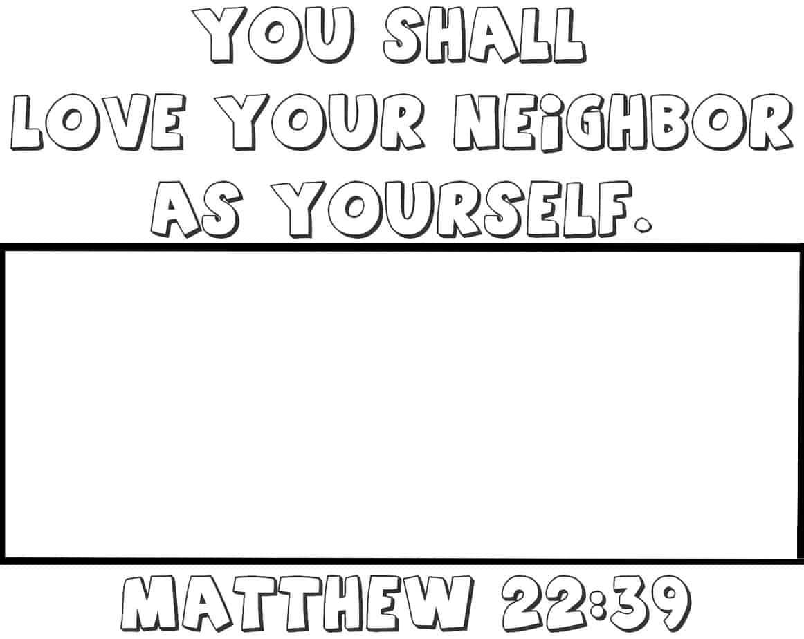 Love Your Neighbor Coloring Page Activity Matthew 22 39