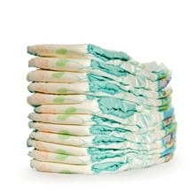stack of clean baby diapers