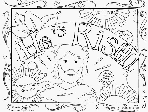 """Easter coloring picture with the phrase """"He is Risen"""""""