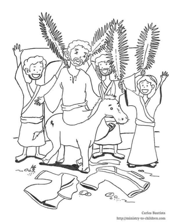 palm Sunday coloring page - printable line drawing of Jesus triumphant entry
