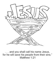 Call His Name Jesus (Manger Coloring Page) — Ministry-To