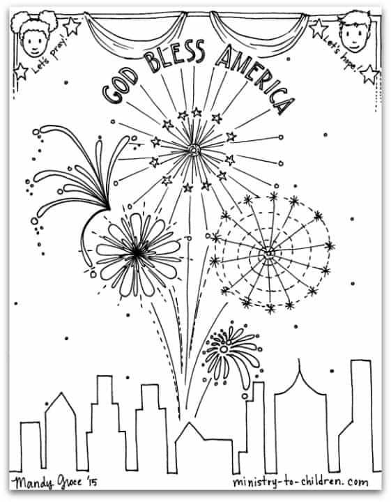 """God Bless America"" Coloring Page — Ministry-To-Children.com"
