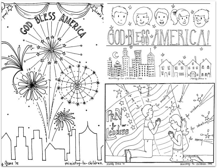 Patriotic Coloring Book For The 4th Of July -- Independence Day  Ministry-To-Children