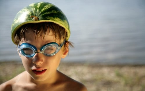 Boy with watermelon helmet