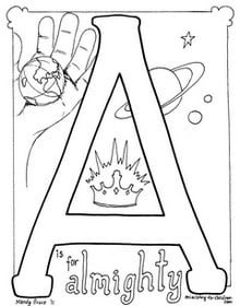 "free ""A is for Almighty"" coloring page"