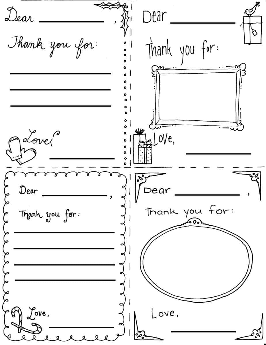 "Printable Christmas ""Thank You"" Cards for Children"