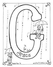 "Bible Alphabet coloring page ""G is for God's Grace"""