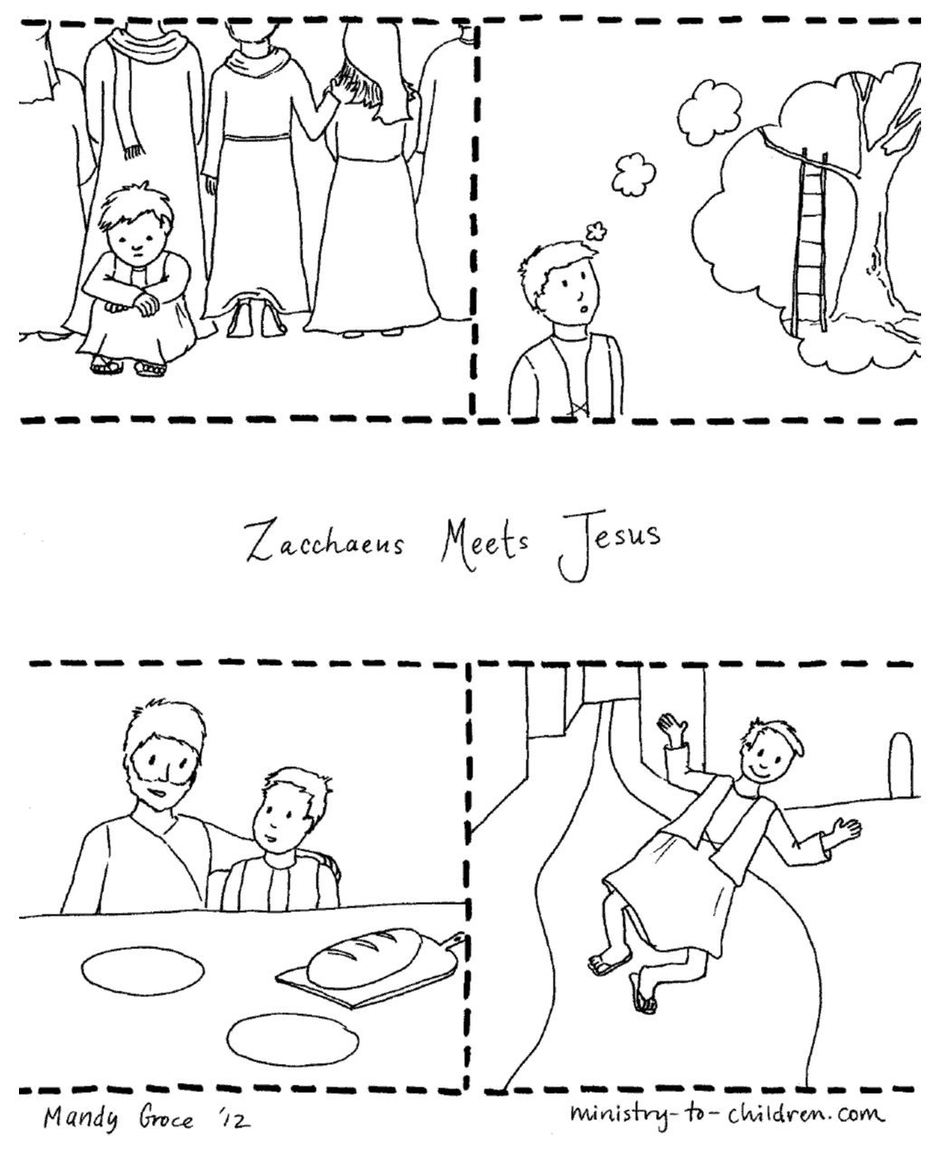 Zacchaeus Amp Jesus Coloring Page Free Printable