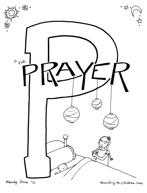 P is for Prayer coloring page for kids