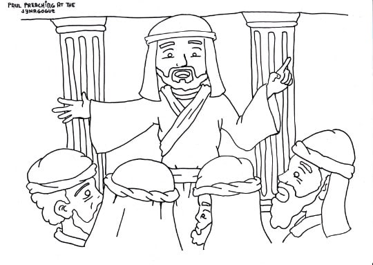 """Paul Preaching in the Synagogue"" Coloring Page"