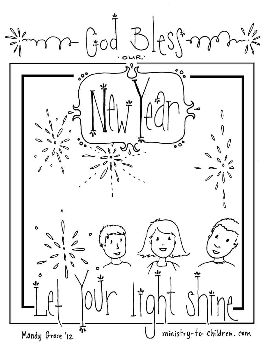 """New Year's Coloring Page """"Let Your Light Shine"""" — Ministry ..."""