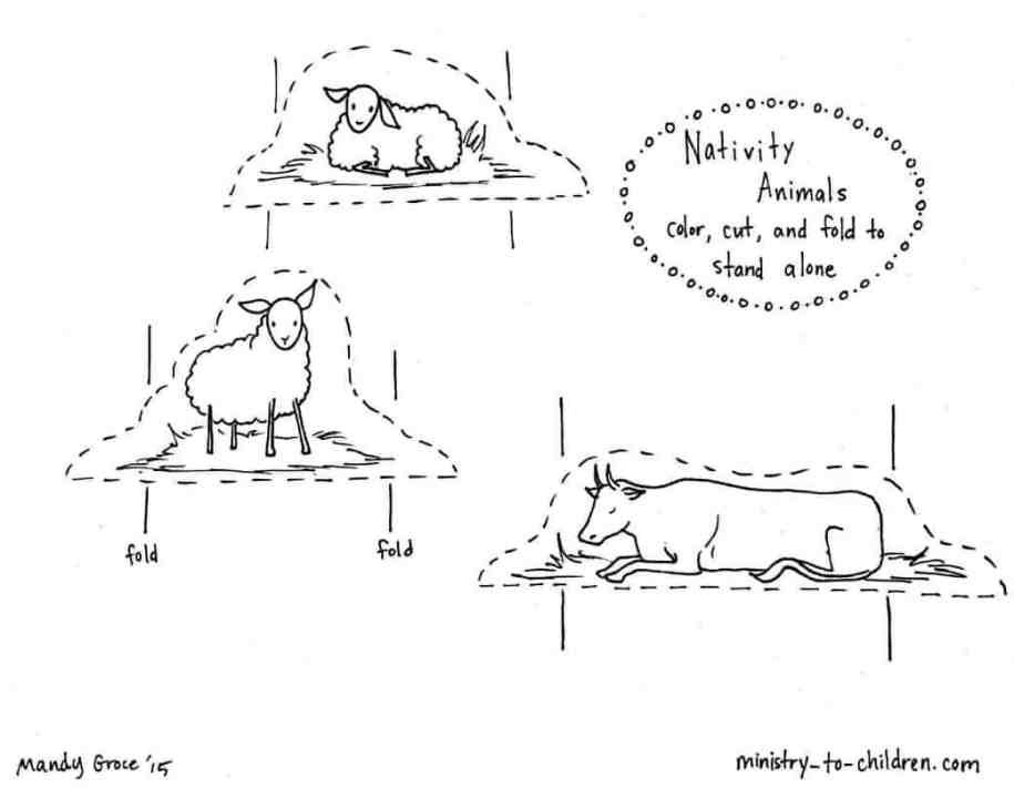 Nativity Animals Coloring Page