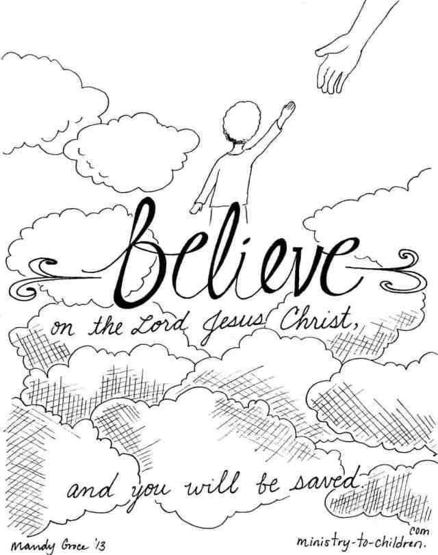 """Believe on the Lord Jesus"""" Coloring Page - Ministry-To-Children"""