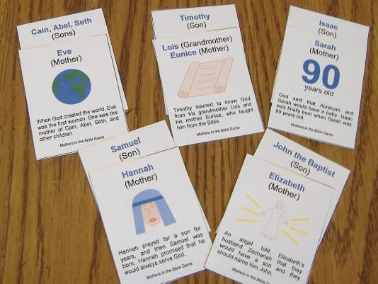 Moms of the Bible flashcard game