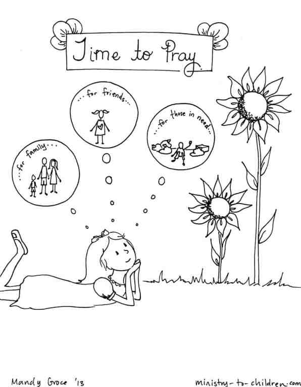 time to pray coloring page