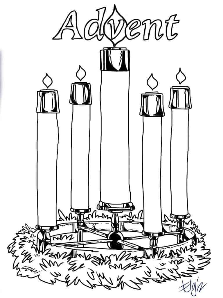 Advent Candles Coloring Page