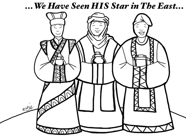 sunday school lesson - wise men coloring page