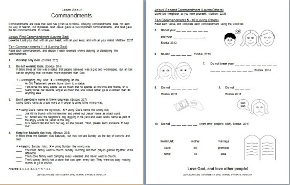 """Learn about God's Commands"" Bible Worksheet (free printable)"