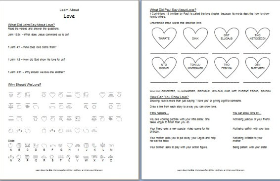 "Printable ""Learn about Love"" Bible Worksheet"