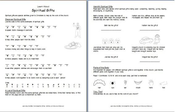 Printable Worksheet about Spiritual Gifts