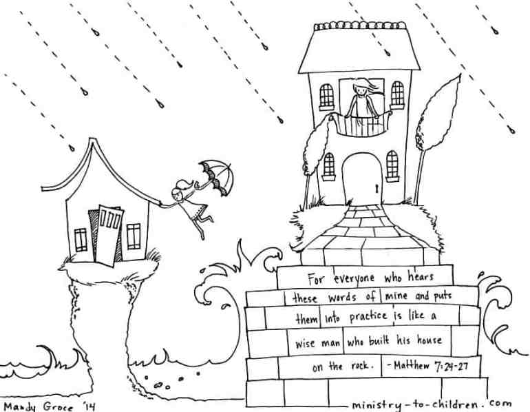 """Wise & Foolish Builder"" Coloring Pages Matthew 7:24-27"