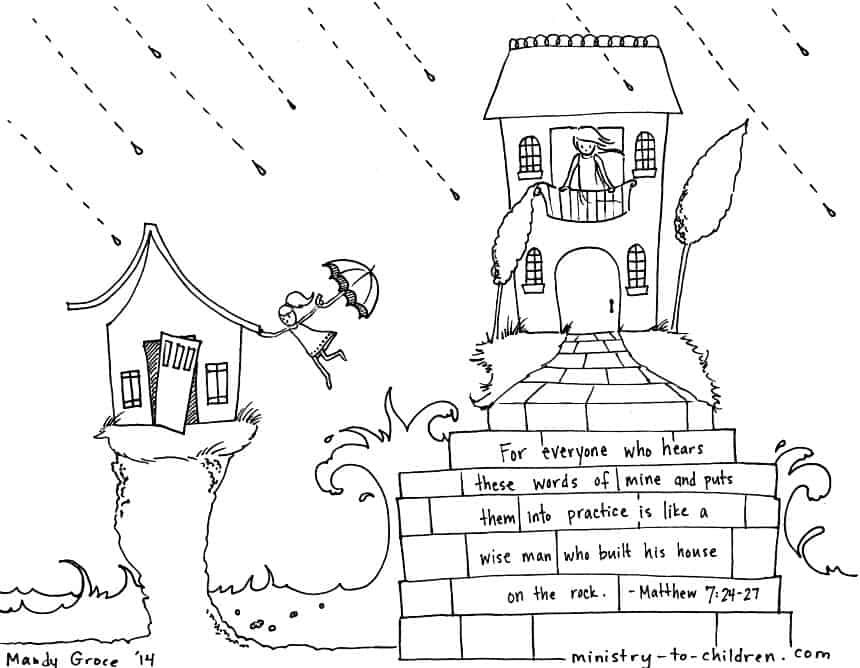 """""""Wise & Foolish Builder"""" Coloring Pages Matthew 7:24-27"""