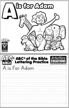 """""""A is for Adam"""" coloring pages"""