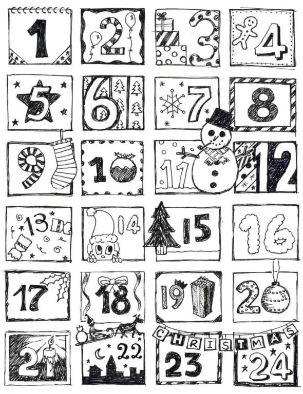 countdown to Christmas coloring pages